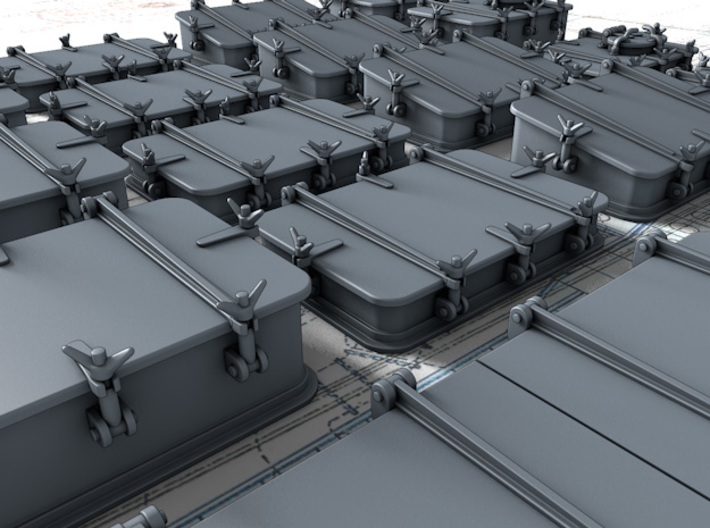 1/144 Scale Royal Navy Deck Hatch Set x18 3d printed 3d render showing product detail