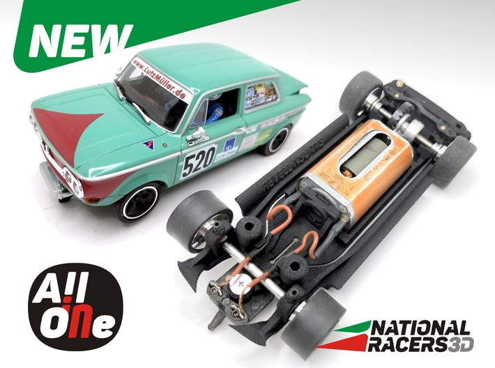 Chassis - Revell NSU TTS (Inline-AiO) 3d printed Chassis compatible with Monogram/Revell  model (slot car and other parts not included)