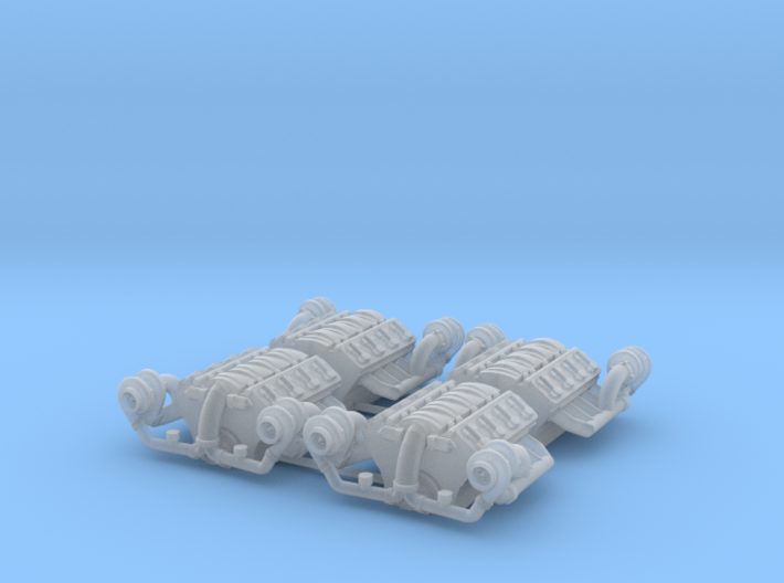 Set of 4 - LS Twin Turbo Engine w. downturns 3d printed