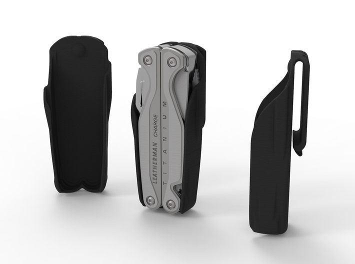 Holster for Leatherman Charge+ TTI, Open Clip 3d printed No Bit Holders, Smooth Back