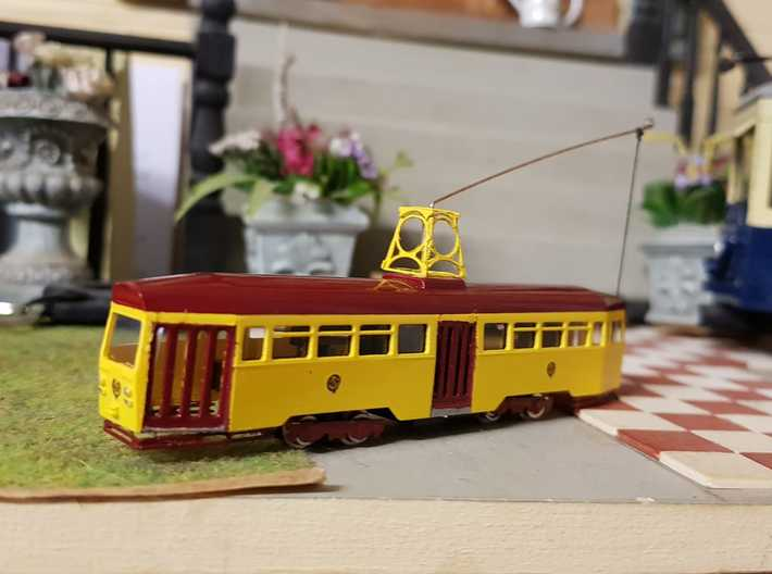 Blackpool OMO Tram N Gauge 3d printed Finished model with added motor bogies and etch detail