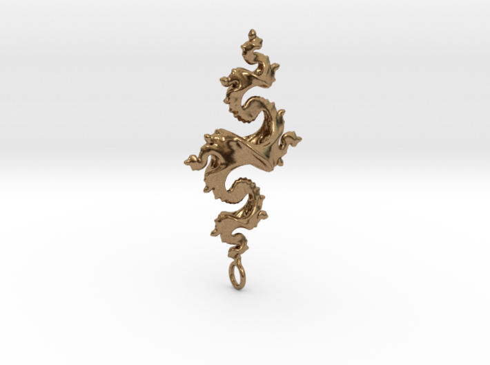 Dragon Pendant 5cm 3d printed Polished Bronze Steel