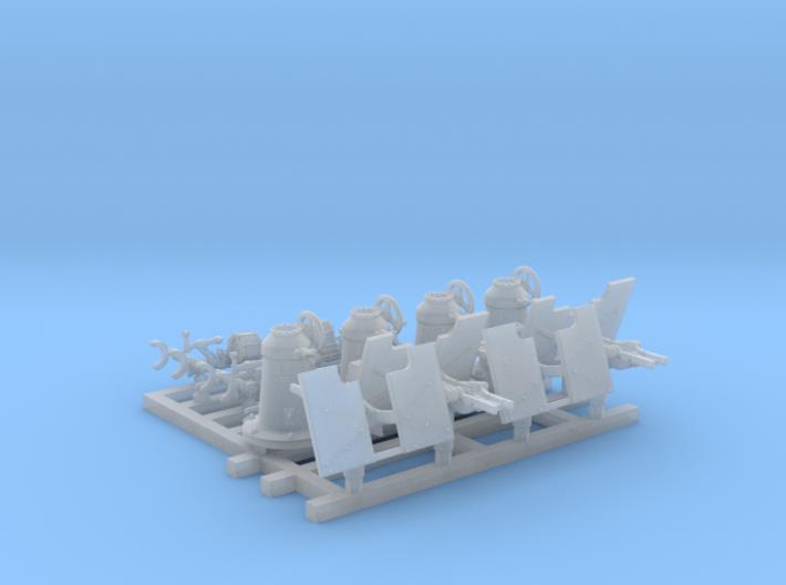 1/150 Royal Navy 20mm Oerlikons MKI 0º x4 3d printed 1/150 Royal Navy 20mm Oerlikons MKI 0º x4