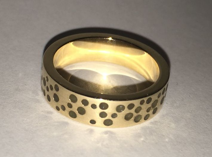 Constellation Ring 3d printed Polished bronze, dots filled with glow resin