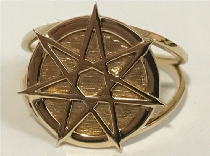 Dramatic Fairy star ring 3d printed Fairy star in polished brass