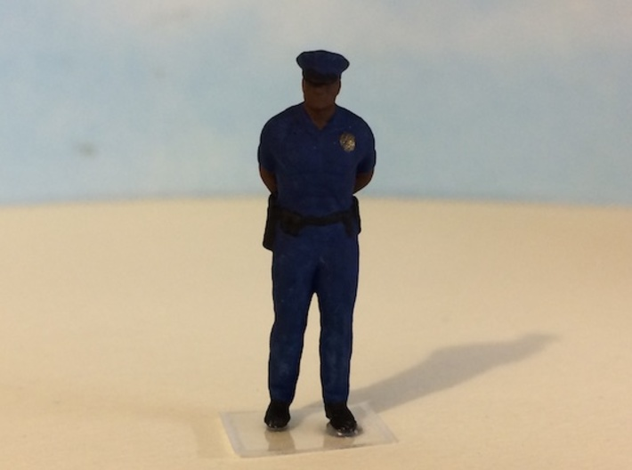 Police Officer Standing Waiting 3d printed