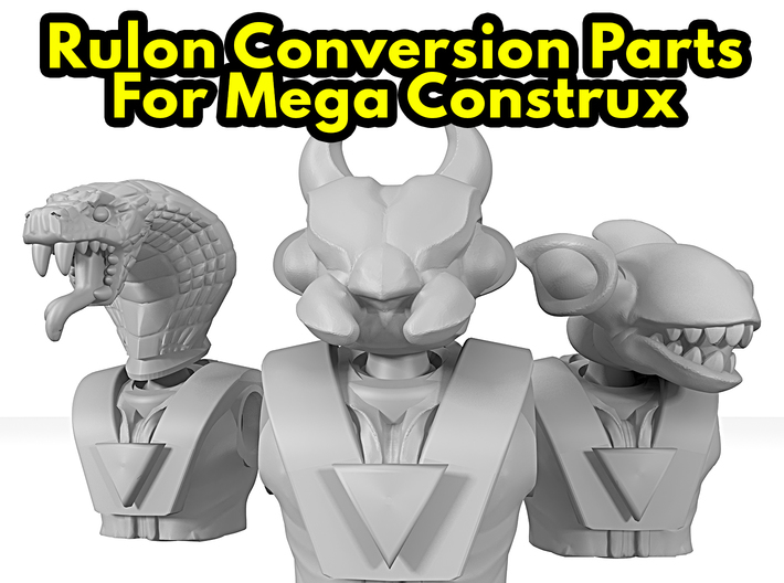 Dino-Riders Rulons (Mega-Construx) 3d printed Render of Heads with torsos