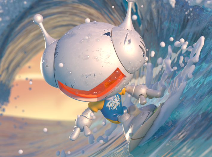 Robots like surf 3d printed a photo at the moment of a great surf