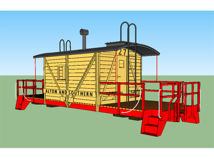 HO A&S Transfer Caboose 1949 3d printed This is a production image from Sketchup as I was finishing the product.