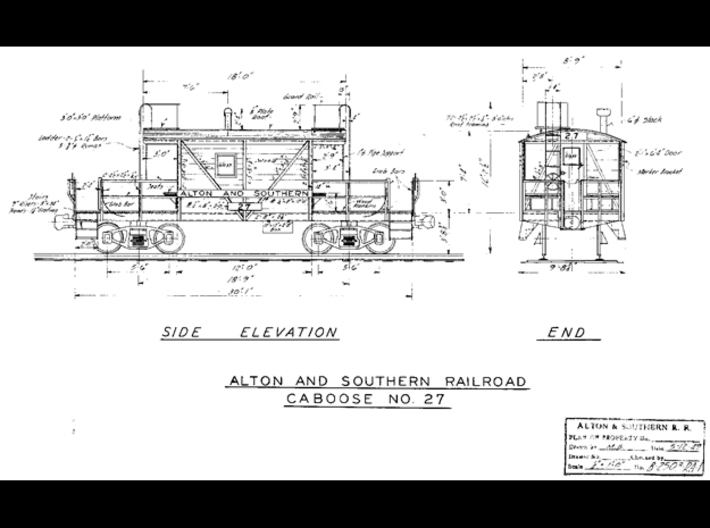 HO A&S Transfer Caboose 1949 3d printed This is the drawing I used to create the series of cabooses.