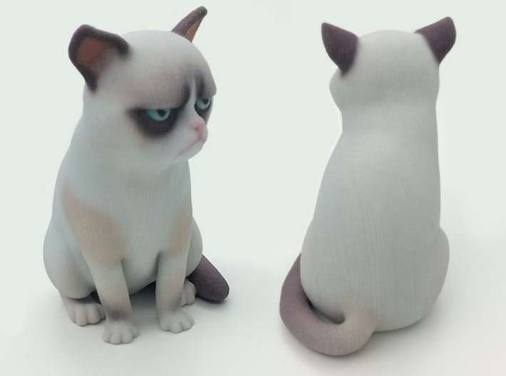 Grumpy Cat 3d printed 3d printed figurine of Grumpy Cat in full color sandstone
