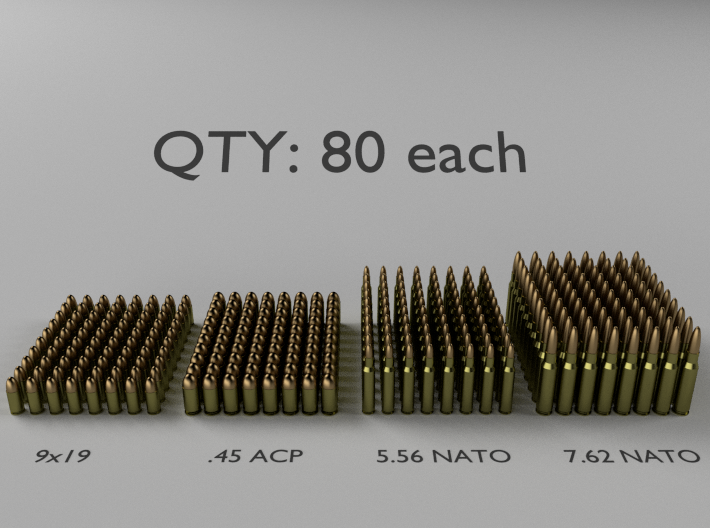 1:18 Scale Bullet Cartridges: 9mm/45 ACP/5.56/7.62 3d printed