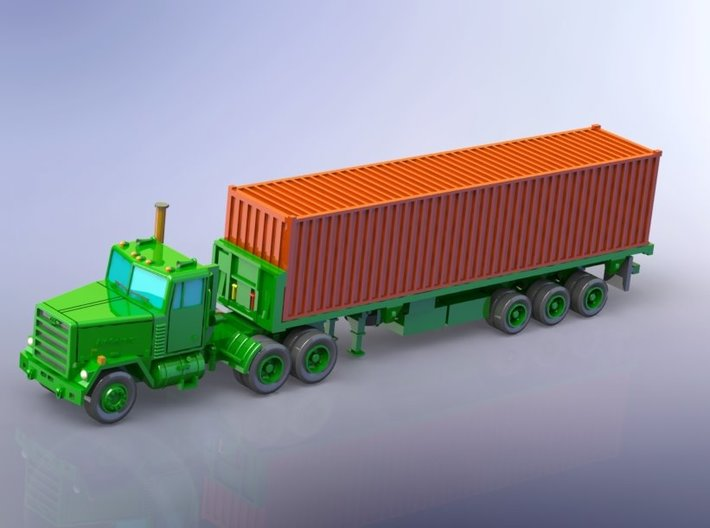 M915 Tractor w. M872 Semitrailer & Container 1/200 3d printed