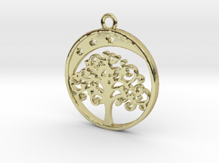 Life Tree, Moon & Stars Pendant 3d printed