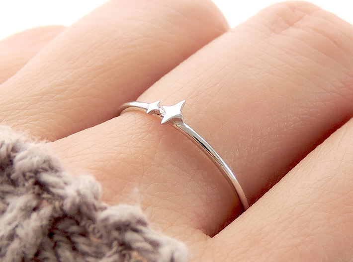 Twin Sparkle Ring (Multiple Sizes) 3d printed Twin Sparkle Ring in Polished Silver