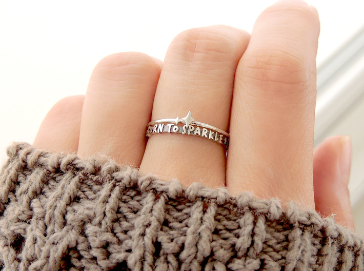 Twin Sparkle Ring (Multiple Sizes) 3d printed Twin Sparkle and 'Born To Sparkle' Rings Stacked