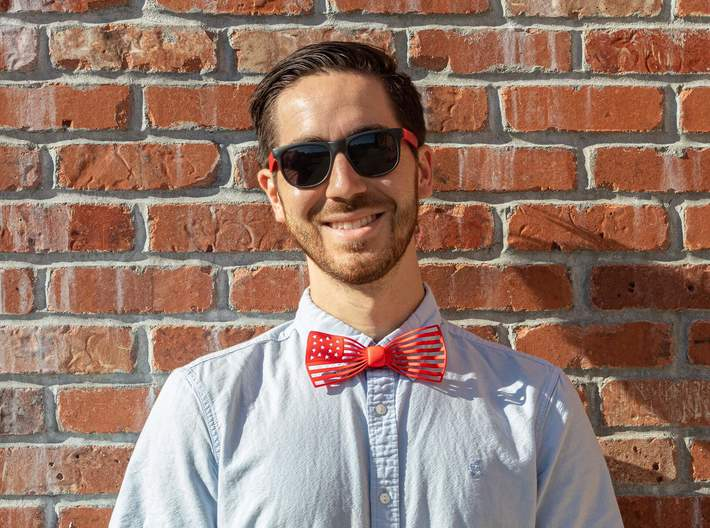 The Flag Bow Tie 3d printed Nothing like a photo on a brick wall