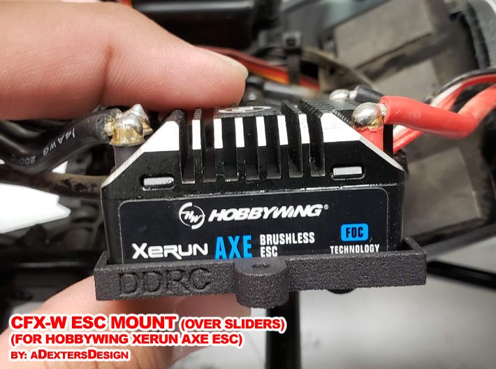 CFX-W ESC MOUNT for Hobbywing Xerun AXE  3d printed ESC Sits in Platform, away from the body, safe from rocks and dust from below