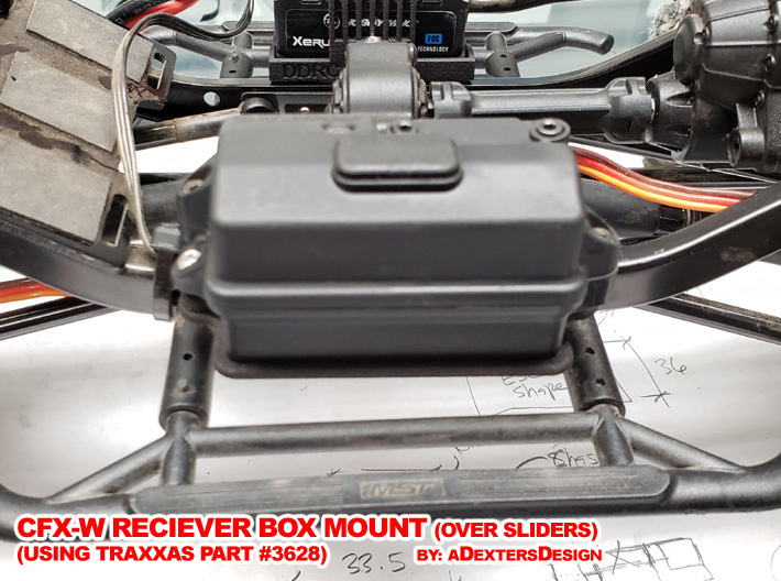 CFX-W  RECEIVER BOX MOUNT 3d printed In its Place, away from the body, protected from rocks and dust from below.