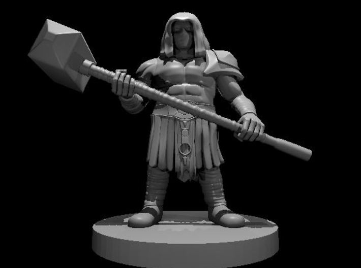 Dwarf Barbarian with Maul and mask 3d printed