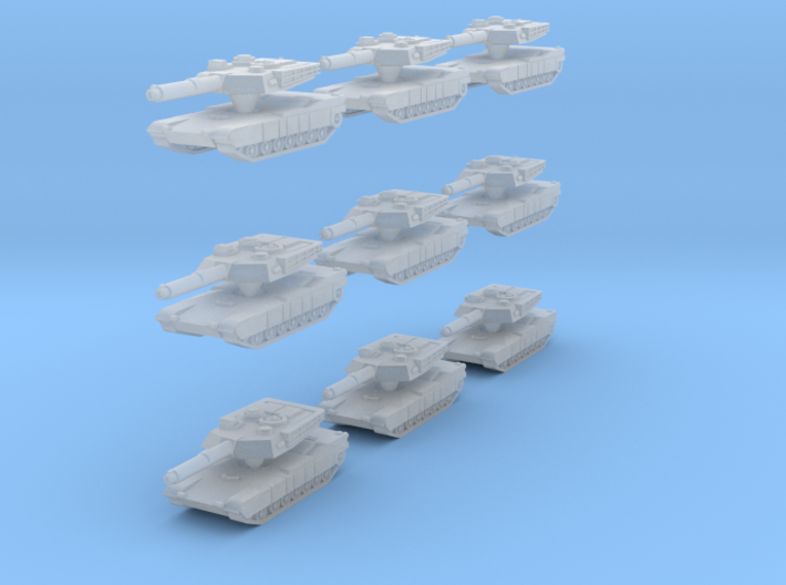Abrams M1A1 MBT SET OF 9 in 1:500 scale. 3d printed Abrams M1A1 MBT SET OF 9 in 1:500 scale