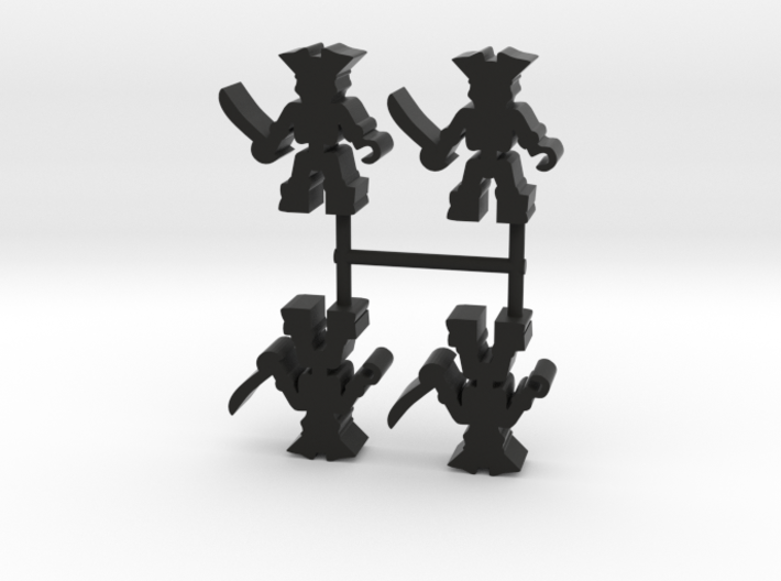 Pirate Skeleton Meeple, hook, 4-set 3d printed