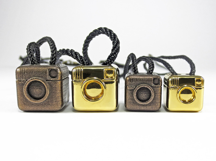 Instagram Style Camera (Pendant 20mm) 3d printed 20mm / 16mm - Polished Bronze Steel / Polished Brass