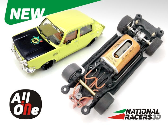 Chassis Revell SIMCA 1000 Rallye 2 (Narrow-In-AiO) 3d printed Chassis compatible with Monogram-Revell model (slot car and other parts not included)