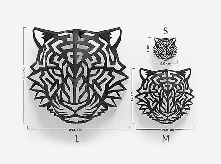 Tiger Head (S) Faux Taxidermy 3d printed
