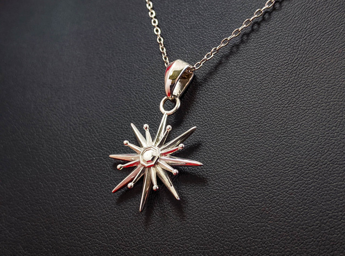 Starburst Pendant 3d printed This material is Polished Silver(Chain not included.)