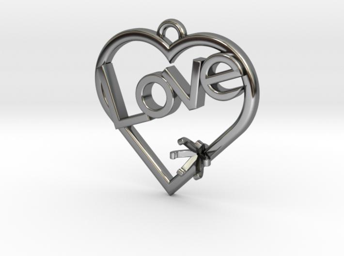"Heart Pendant ""Love"" (Offset 4.28mm) 3d printed"
