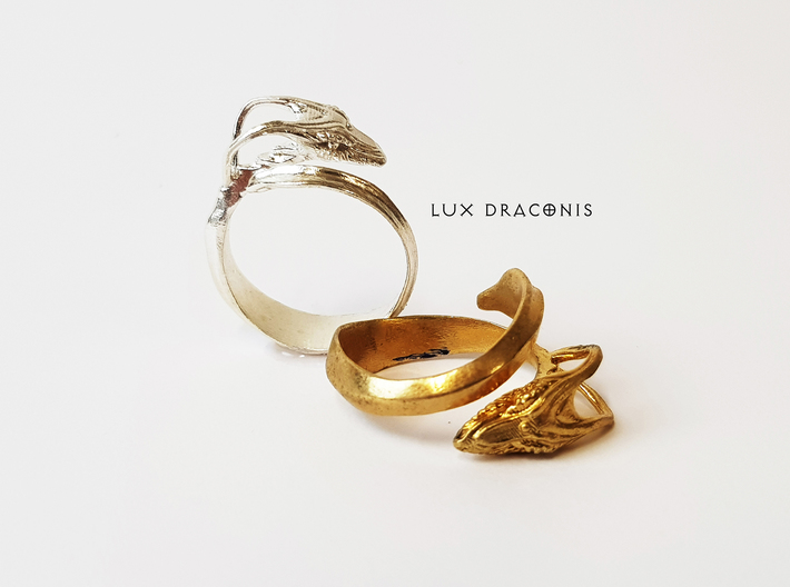 """LUX DRACONIS dragon ring """"The wicked winder"""" 3d printed dragon ring in  silver and brass"""