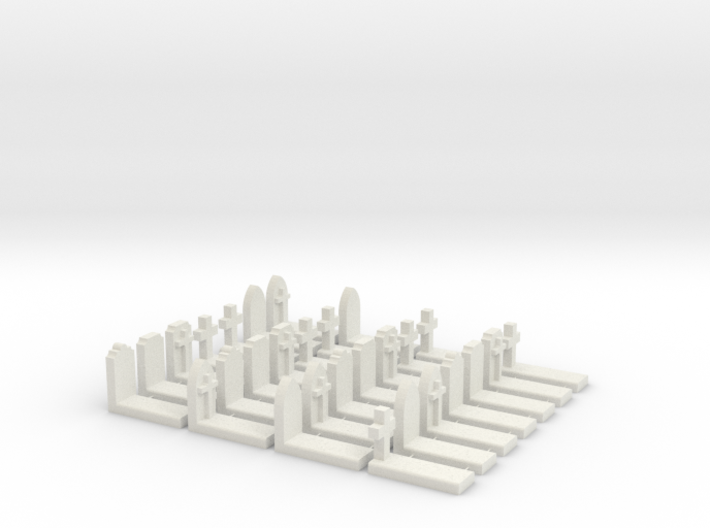 O Scale Cemetery Graves Graveyard (L) 1:43 3d printed