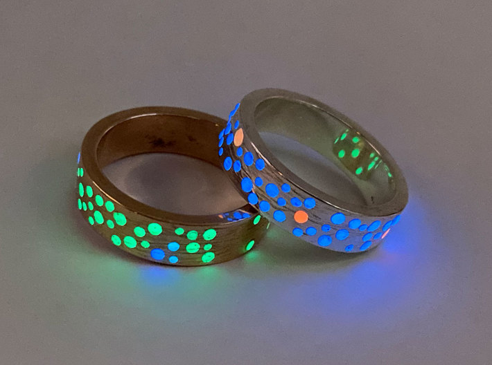 Constellation Ring 3d printed Polished bronze and silver, dots filled with glow resin