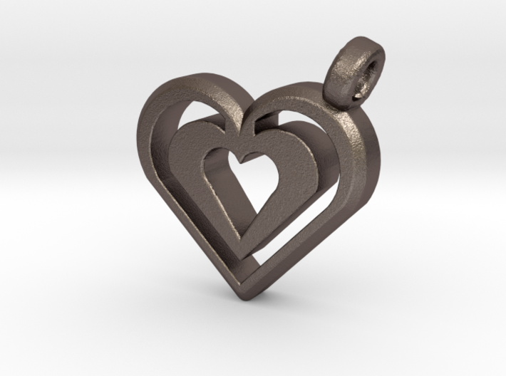 Enjoined Hearts Pendant 3d printed