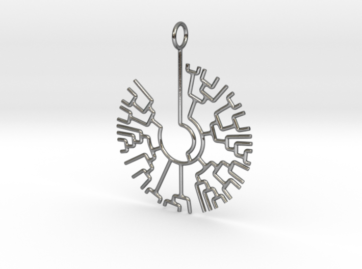 Phylogenetic Tree pendant: science jewelry 3d printed