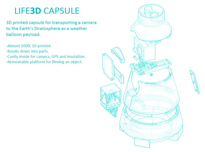Life3D Weather Balloon Capsule - Base Section 3d printed Exploded View of All Parts