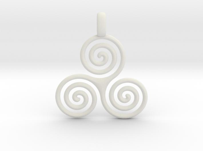 TRIPLE SPIRAL Minimal Symbol Jewelry Pendant 3d printed