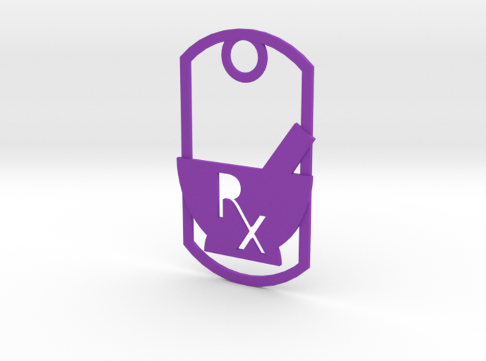 Mortar and pestle dog tag - With Rx symbol (punche 3d printed