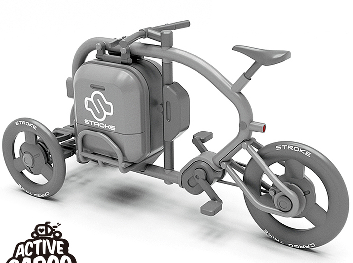 1/12 STROKE Cargo Trike: Frame & Suspension kit 3d printed This is a 3D data rendering. The wheels and cargo box are not included in this frame & suspension kit.