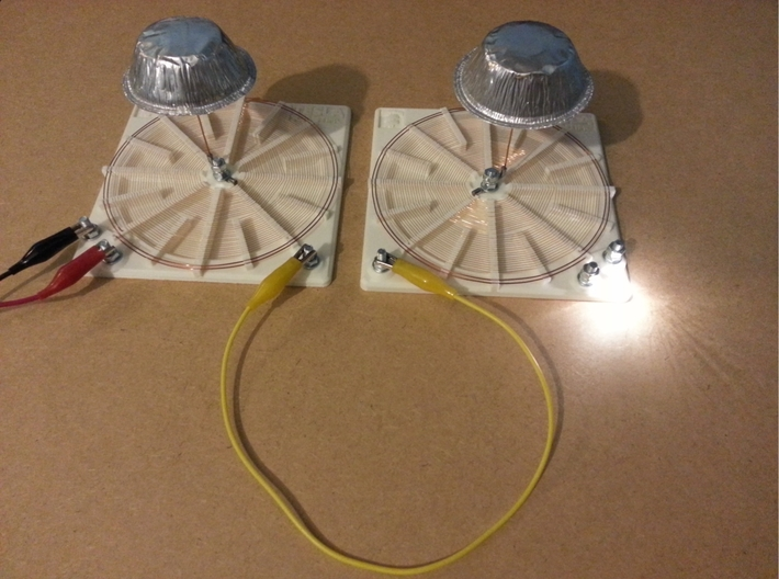 Tesla Flat Spiral Coil Base B - 140mm 3d printed Coils A and B - Transmission through one wire
