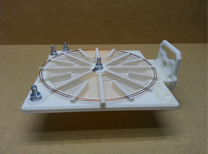 Tesla Flat Spiral Coil Base A - 140mm 3d printed Coil with optional stand in horizontal position