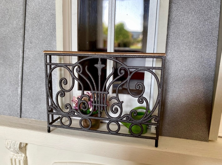 1:12 Balustrade, balcony, railing  French door 3d printed Painted and with added 'brass' handrail