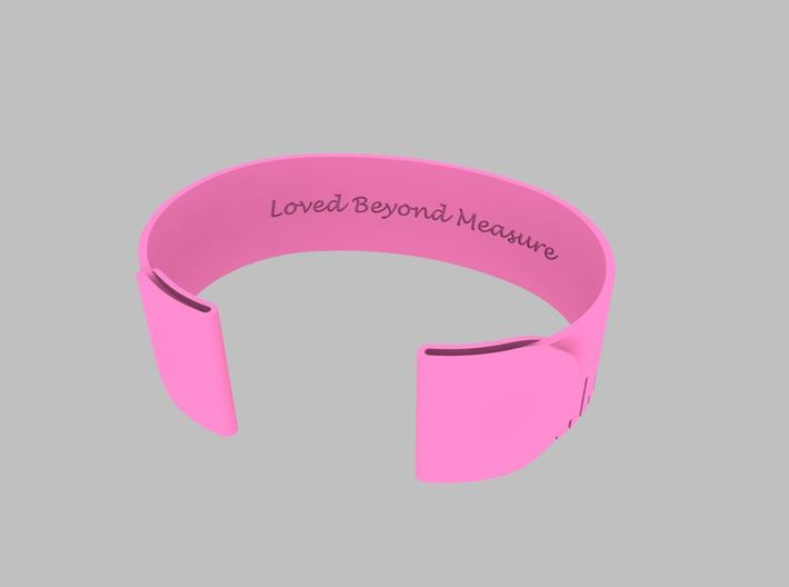 Loved Beyond Measure - Cuff Bracelet 3d printed Pink Strong & Flexible Polished Plastic Inside View Render