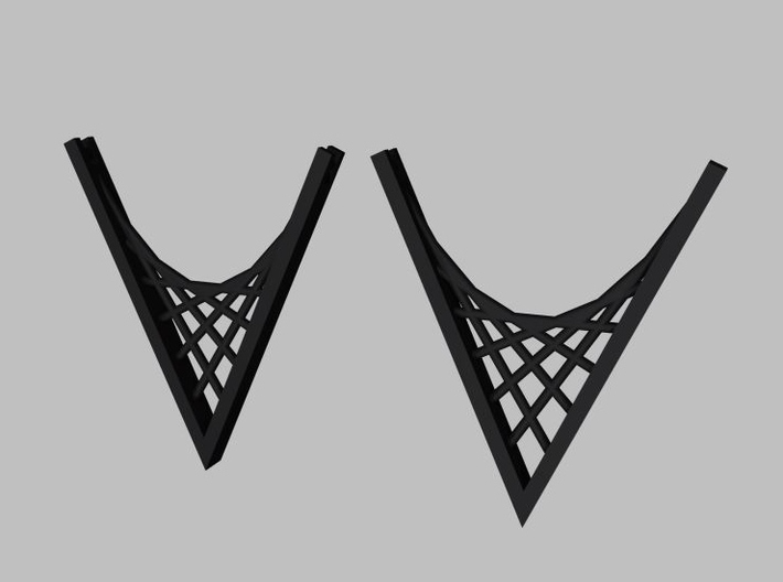 Parabolic Suspension Earrings 3d printed Black Strong and Flexible Rendering