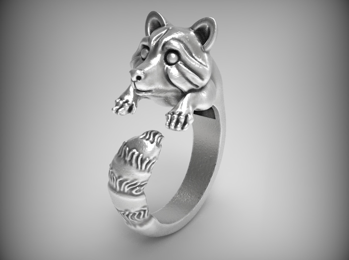 """""""Fluffy Tail"""" Racoon ring size 6.5 3d printed"""