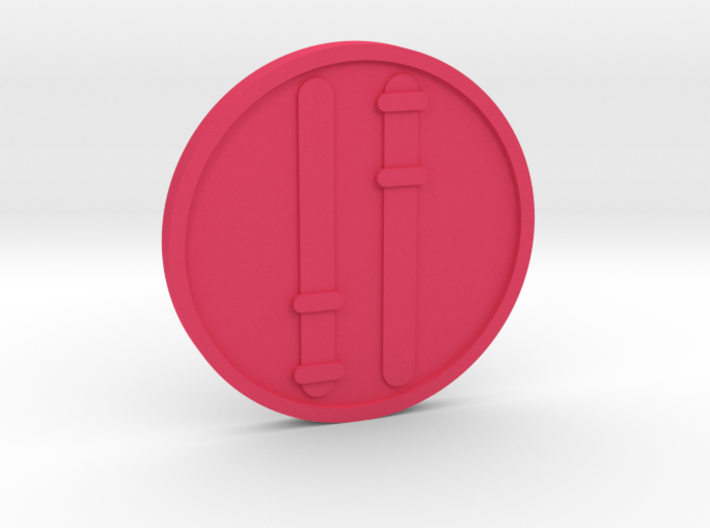 Two of Wands Coin 3d printed