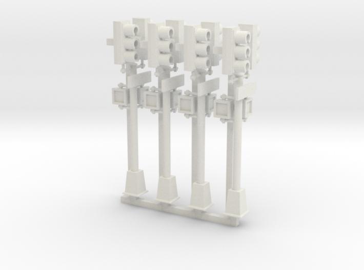 Traffic Light - NYC - HO 2 head pole x4 3d printed
