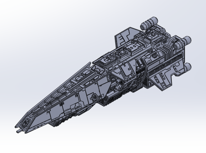 HALO. UNSC Halberd Class Destroyer 1:3000 3d printed