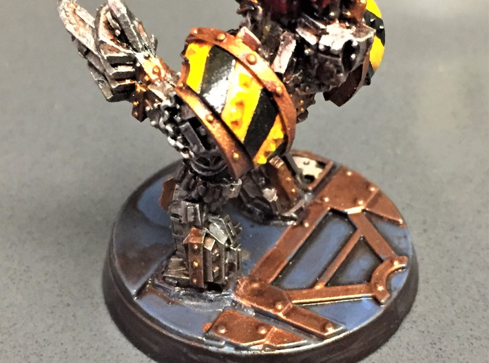 Iron Warriors Cataphractii Shoulder Pads Pauldron 3d printed Hazard Stripe Cataphractii Pauldrons on an old Obliterator turned into a Terminator